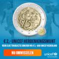 Gratis de officiële UNICEF €2,- Herdenkingsmunt